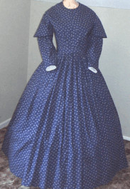 1840s Folded Fan Front Day or Tea Dress, 19th Century (1800s) Ladies dresses