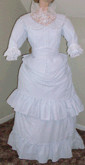 Ladies 1870s Day or Evening Bustle Dress, front view