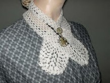 Crochet Necktie Collar, 19th Century (1800s) Ladies Dresses