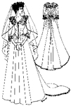 1882-1888 Bustle Wedding Gown with Cathedral Train by Past Patterns. #303