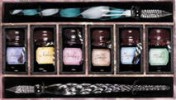 Palette for Pens. 6 bottles of ink with 2 with glass styluses.