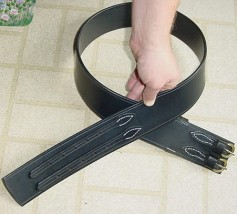 Waist Belt, wide belt with 2 buckles in black