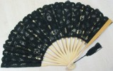 Ladies Hand Fan, Black Lace with Natural Frame