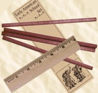 Early American School Set, cedar pencils and 6'' ruler. 19th Century (1800s) toys and games.