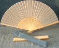Ladies Hand Fan, Light Wood with Silk