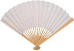 Ladies Hand Fan, Bamboo with White Paper