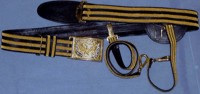 Regulation General Officers Sabre Belt with 2-Rows of Gold Embroidery on Black Leather