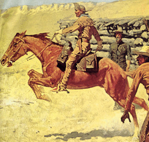 Pony Express Rider with Saddle with Mochila by Remington